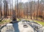 fireplace and backyard