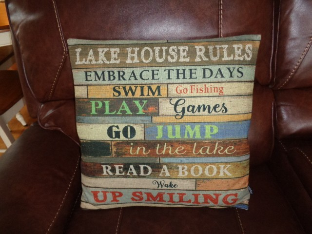 pillow with words